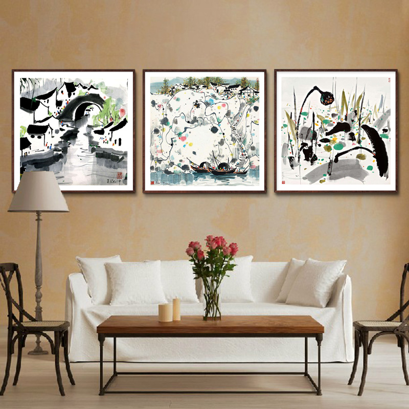 Chinese restaurant bedroom mural paintings of modern living room decorative painting wood framed paintings wu jiangnan
