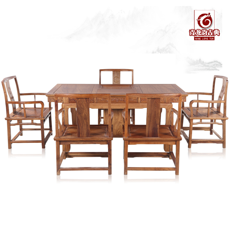 Chinese rosewood mahogany furniture hedgehog rosewood antique wood cabinet with leisure tea table tea table and chair africa rosewood palace chair coffee table