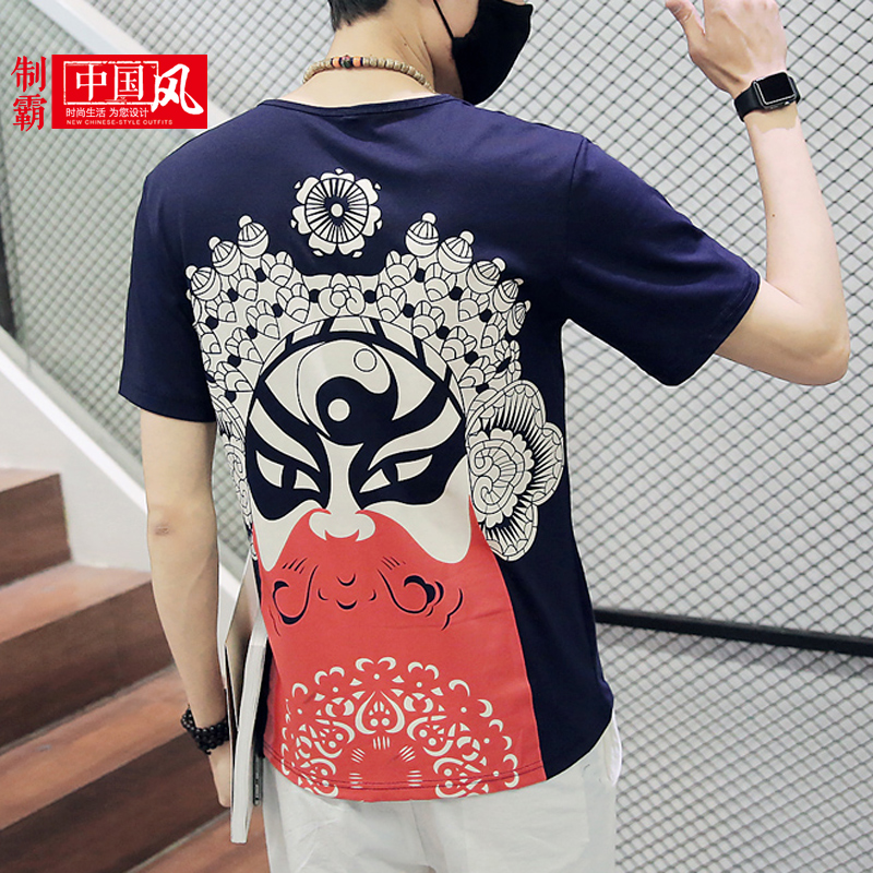 Chinese style men's summer national wind retro trend of high school boys short sleeve t-shirt men short sleeve t-shirt peking opera