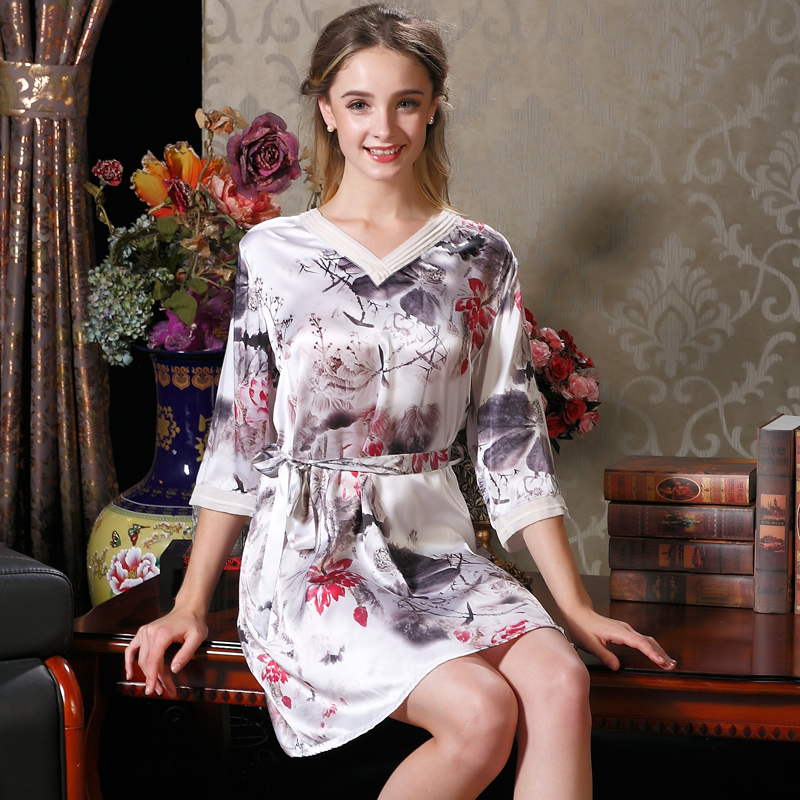 Get Quotations · Chinese style v-neck silk nightgown ms. summer 100  printing loose sleeve silk pajamas b082853dd