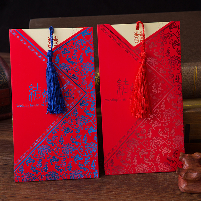 Chinese style wedding wedding celebration invitations tassels wedding invitations custom printed invitations blue and white red gold models