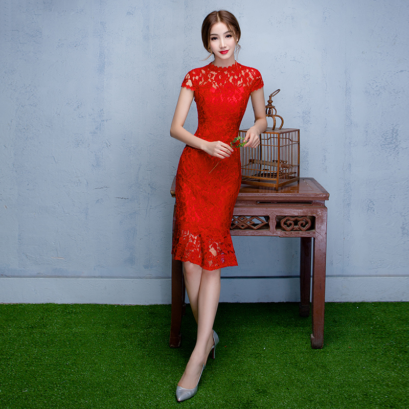Chinese wedding dress female summer and autumn 2016 new red lace cheongsam dress toast the bride wedding dress short paragraph was thin