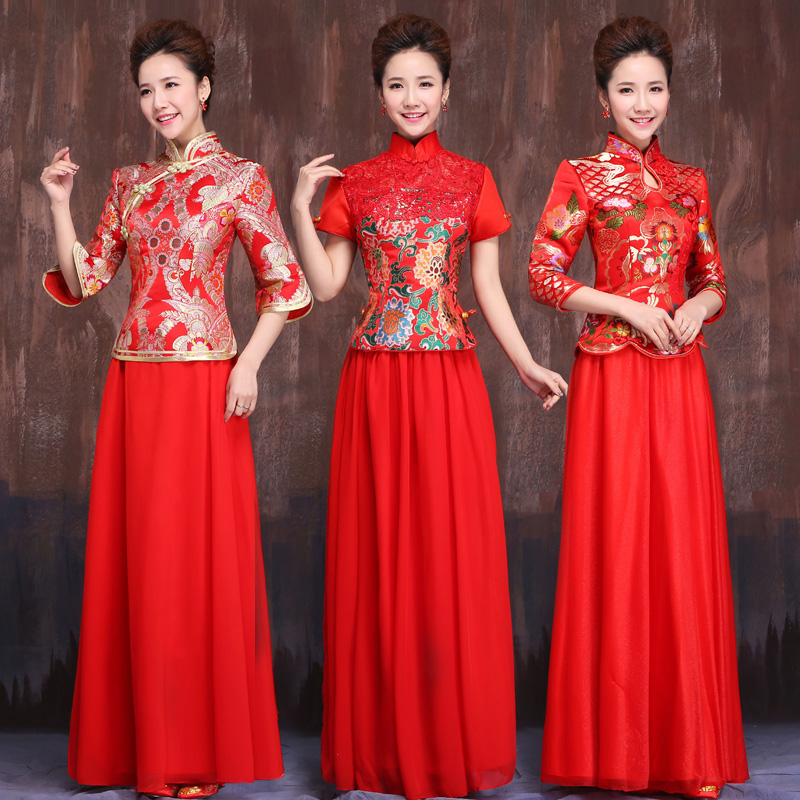 Chinese wedding dress the bride toast red vintage chinese style long sleeve cheongsam dress long section of the banquet evening dress skirt