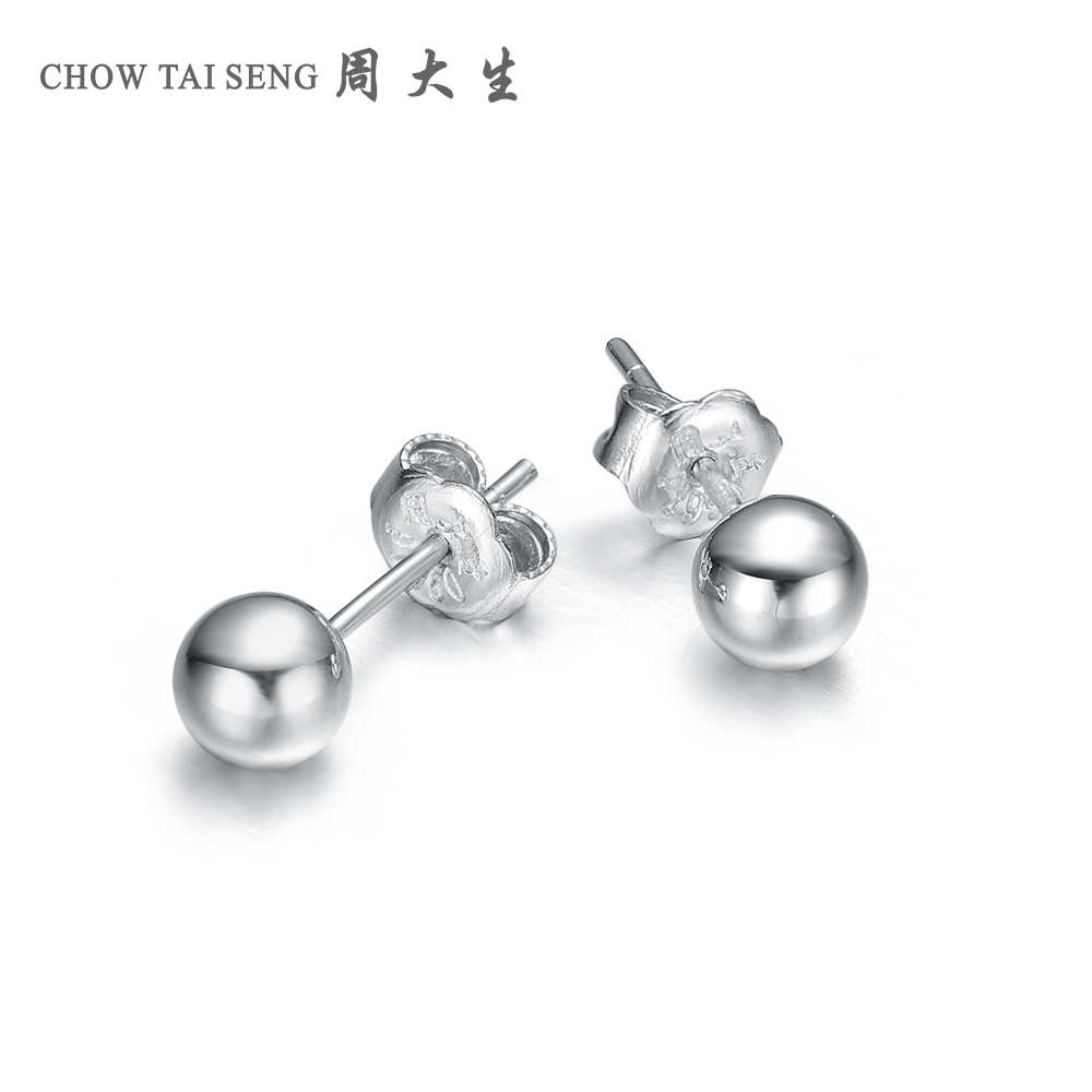 Chow tai seng pt950 platinum earrings platinum spherical earrings/earrings new female models genuine