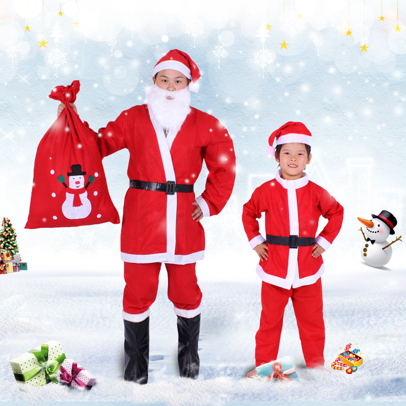 Christmas clothing children christmas santa claus costume dress clothes for men and women and young children santa claus costume