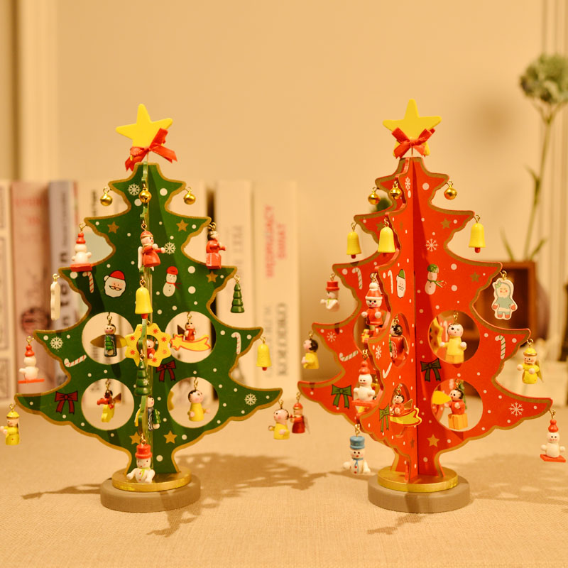 Christmas decorations wooden tabletop mesa medium and small christmas tree christmas decorations christmas ornaments supplies