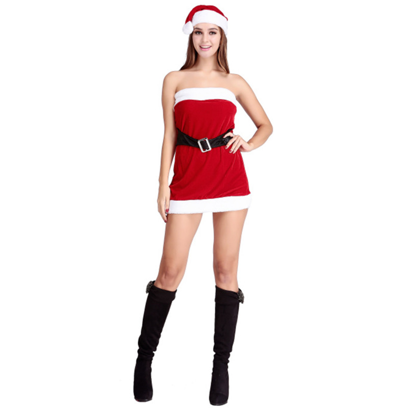 Christmas halloween costumes female chest wrapped skirt mini skirt uniform temptation nightclub party costumes for adults
