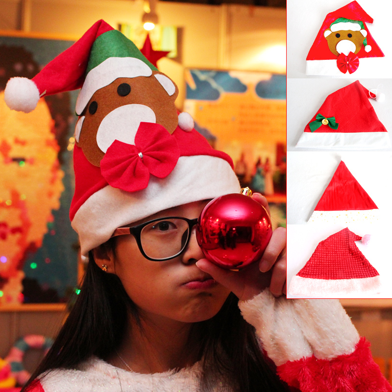 Christmas hat adult children headdress holiday party gift wovens tree decoration play supplies a family of four models