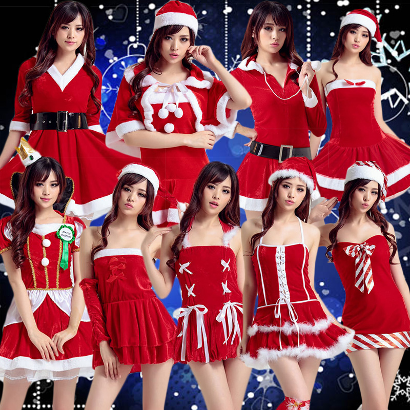 Christmas santa claus costume adult sexy bunny costumes girls cos. santa claus christmas party performance clothing big yards