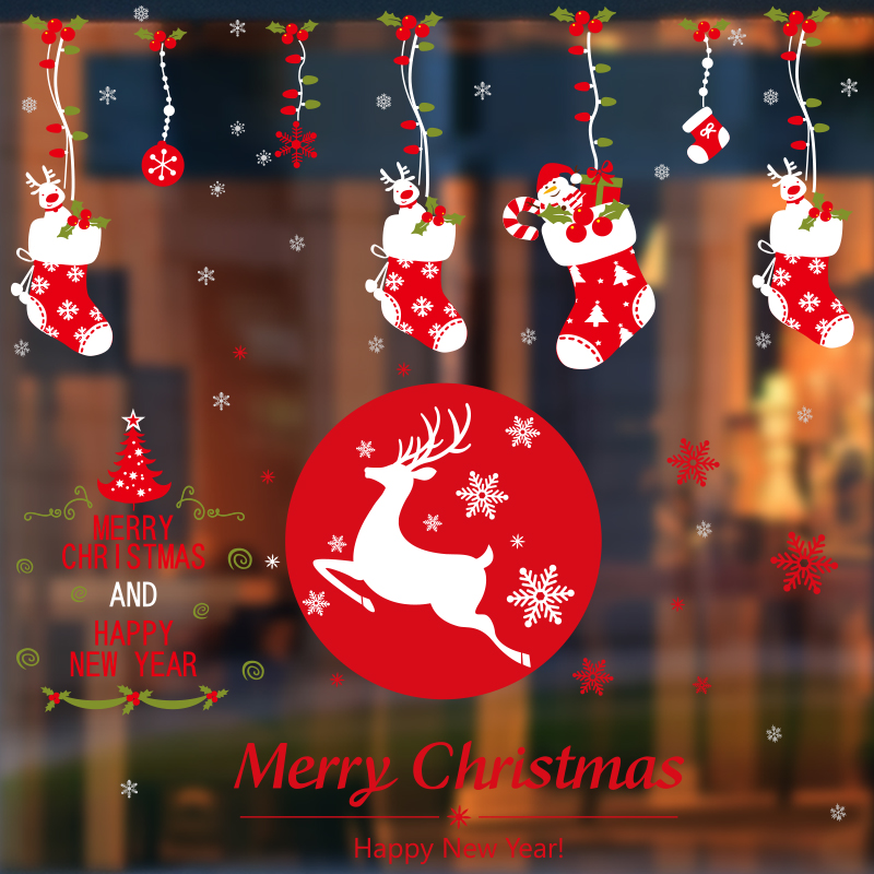 Christmas shop window glass wall stickers wall decorations wall stickers painting ktv bar restaurant school shopping