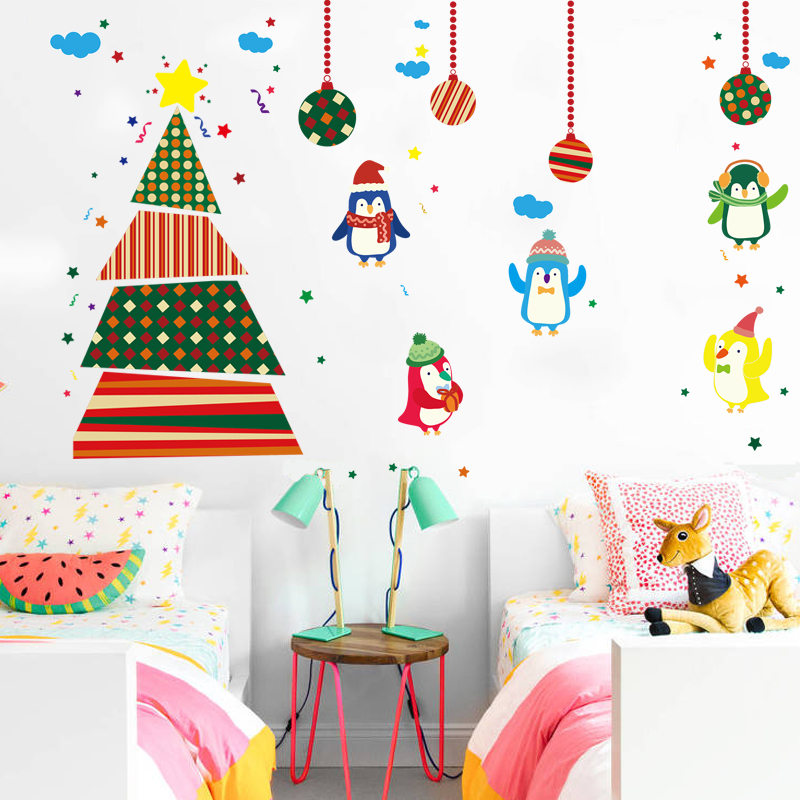 Christmas wall stickers wall stickers children's room nursery wall decor wall stickers tree christmas penguin cartoon cute