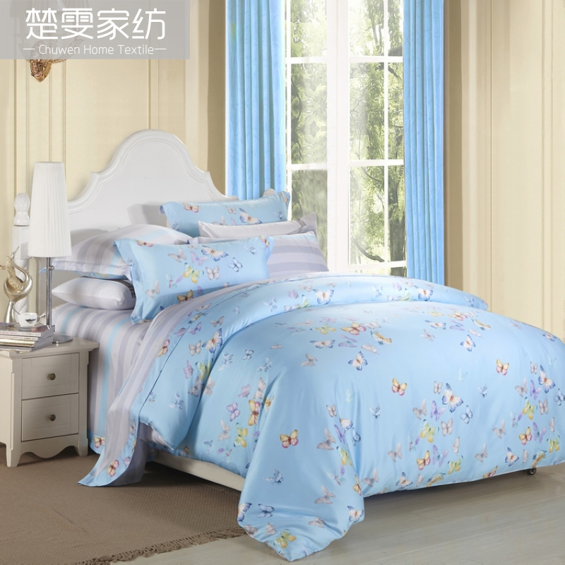 Chu wen textile 2016 new spring and summer sided tencel denim pieces bedding 100% pure tencel linen interest