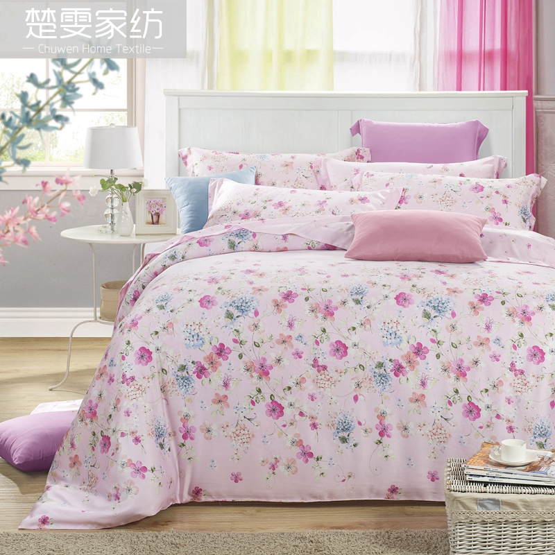 Chu wen textile authentic 16 new spring and summer 100% pure tencel denim reactive printing bedding linen family of four yi