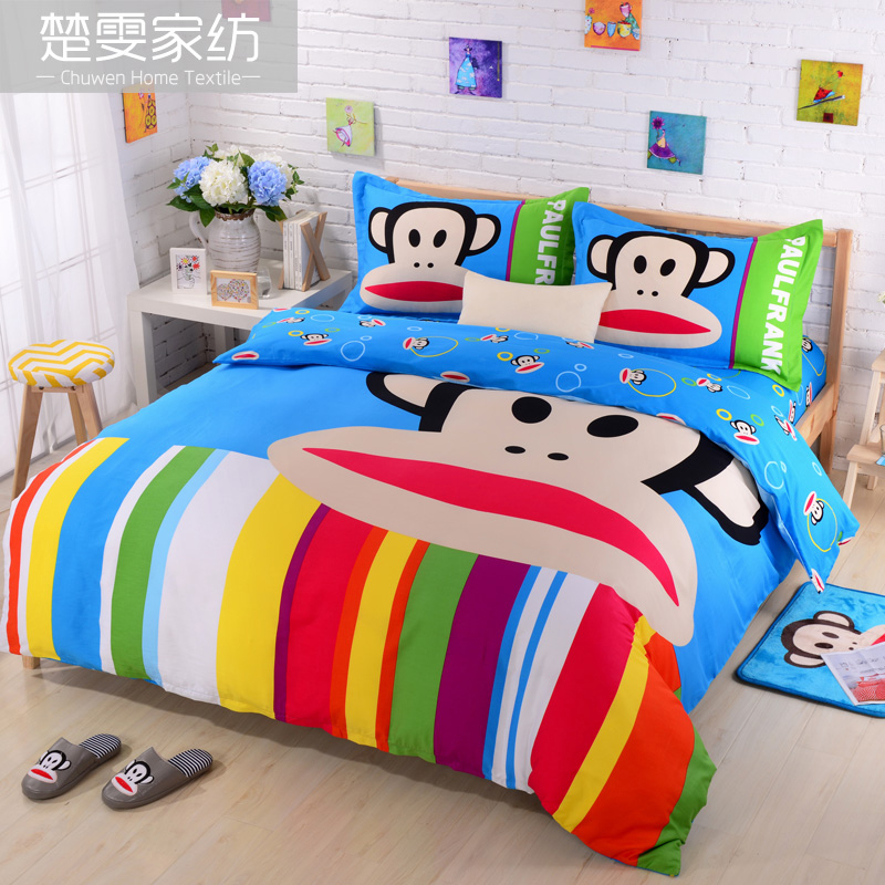 Chu wen textile bedding a family of new authentic children's cartoon cotton sheets reactive printing a family of four pieces of linen