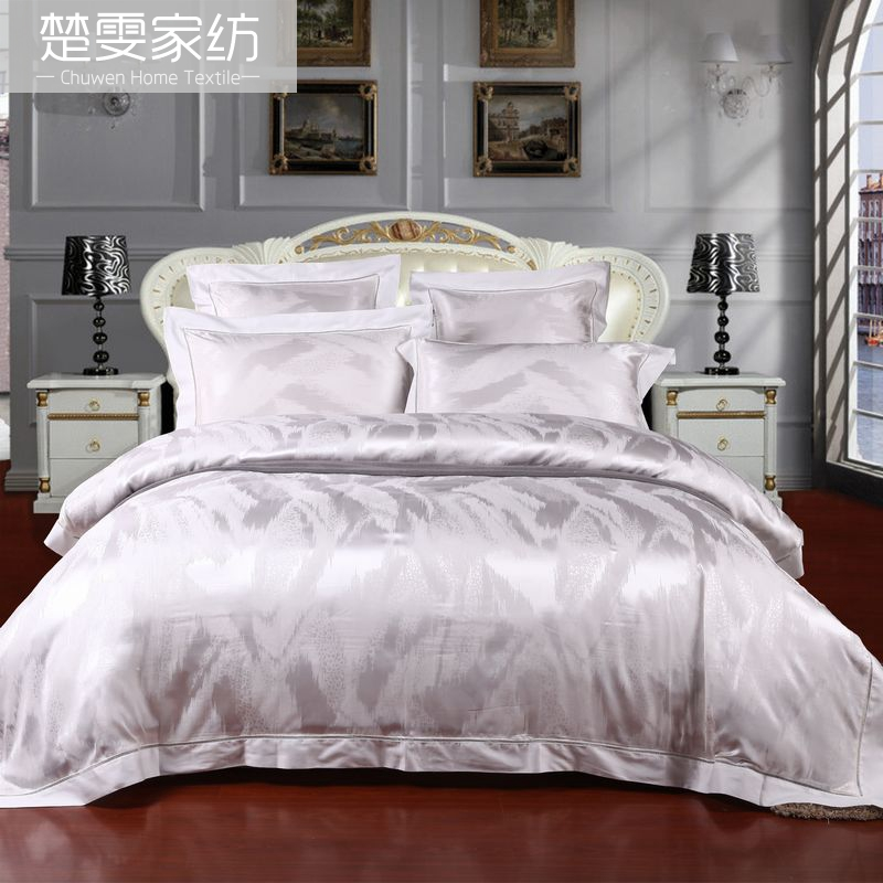Chu wen textile bedding genuine european wedding elegant 100 silk jacquard silk linen six sets