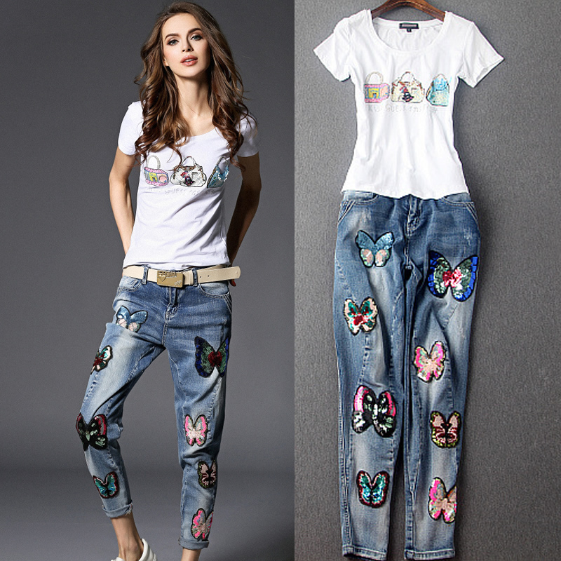 Chun yu kee 2016 spring and summer new european and american fashion beads elastic wild sequined t-shirt was thin denim pants suit