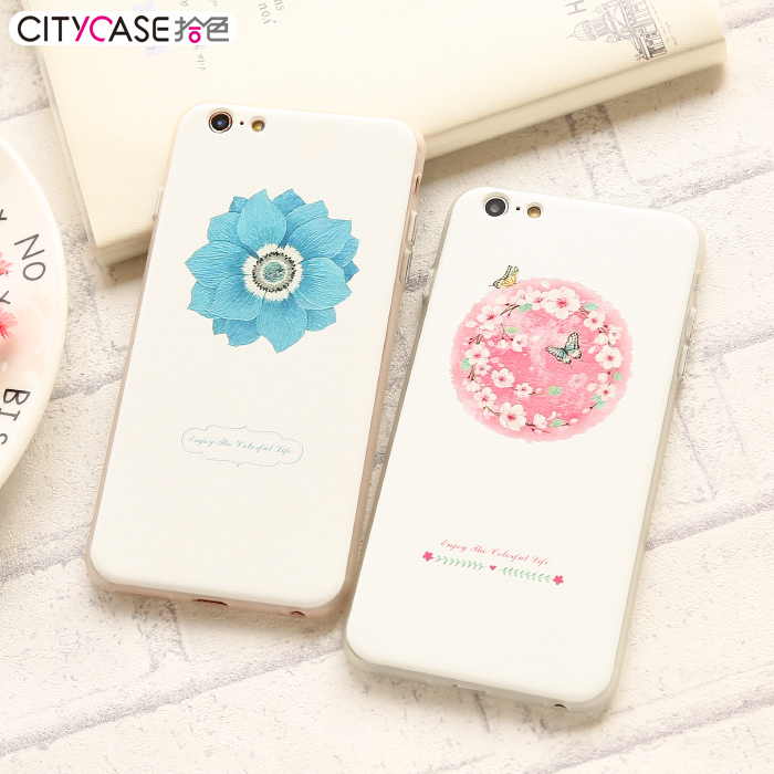 Citycase apple 6 phone shell iphone6s plus japan and south korea fresh flowers female models whole package silicone case