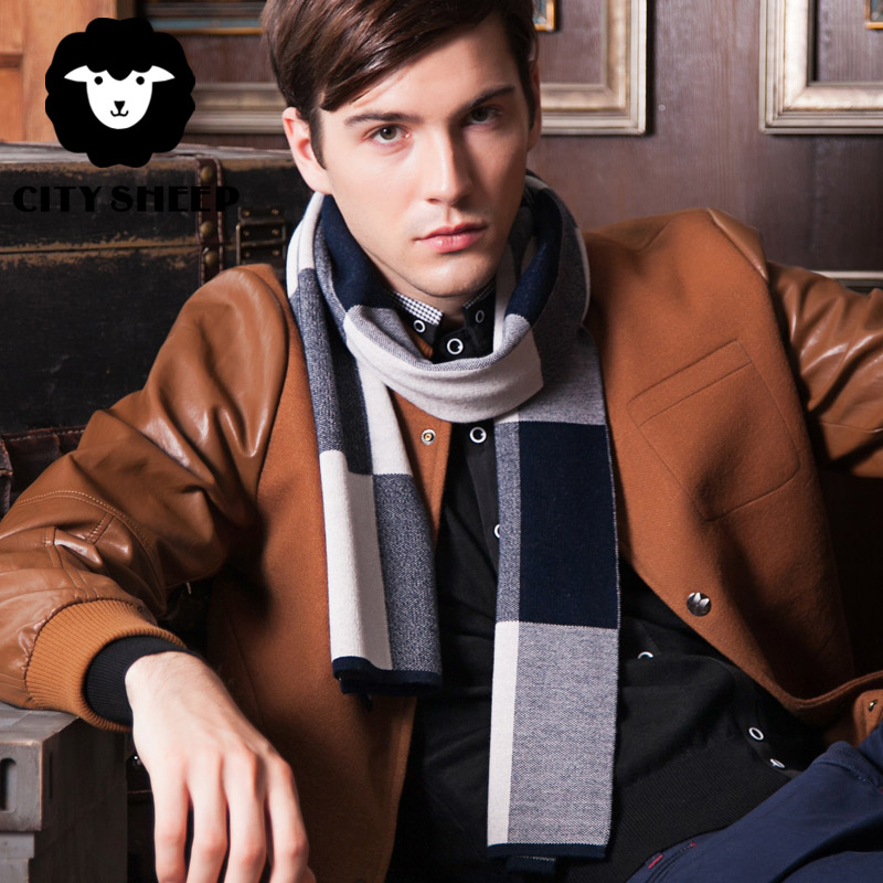 Citysheep winter men's scarves upscale gift box male classic business men plaid wool scarf knitted scarf thick