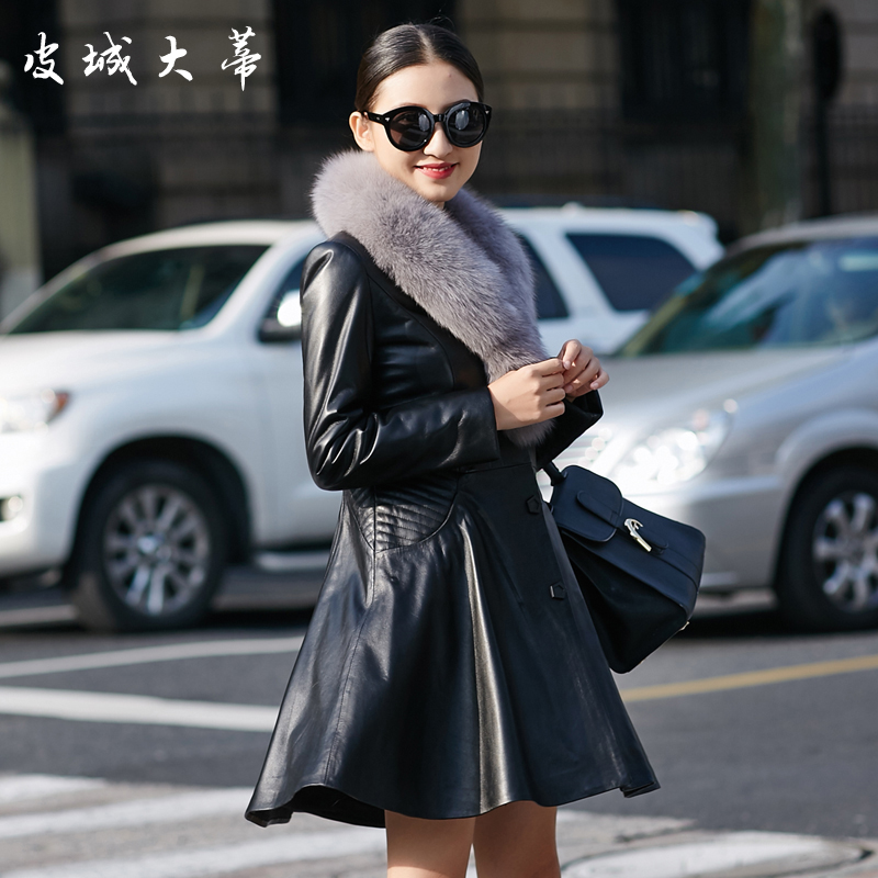 Cityu pedicle 2016 new leather leather ladies long section of haining sheep skin leather fox fur fur coat