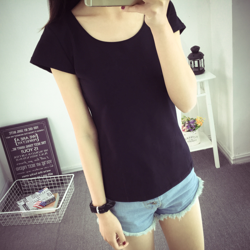 Cjfy/dynamic maple simple solid color short sleeve t-shirt female summer big yards bottoming shirt round neck t-shirt slim korean fan