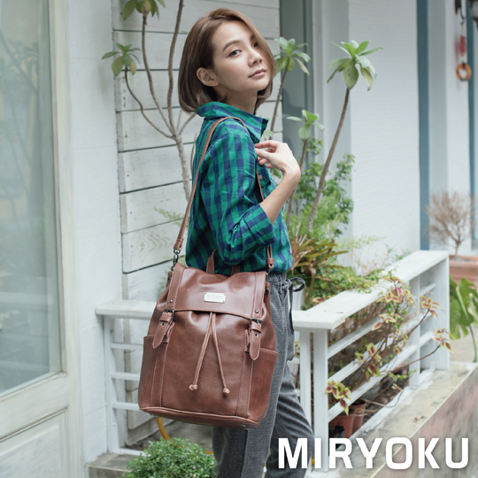 [] Classic retro leather miryoku series/whims double lace drawstring bag dual (brown)