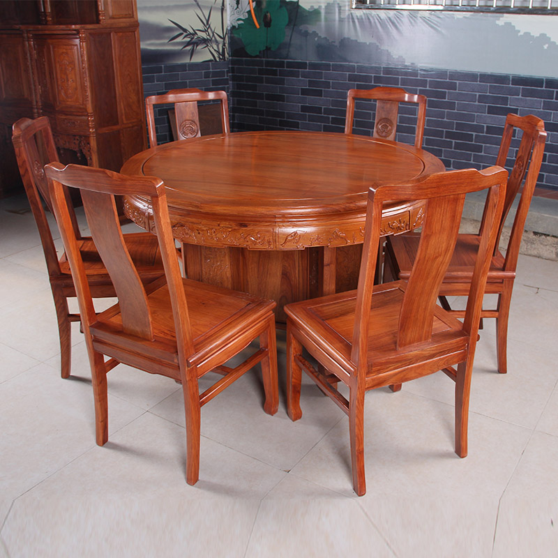 Classical mahogany furniture mahogany dining tables and chairs round table turntable turntable round dining table solid wood dining tables and chairs combination specials