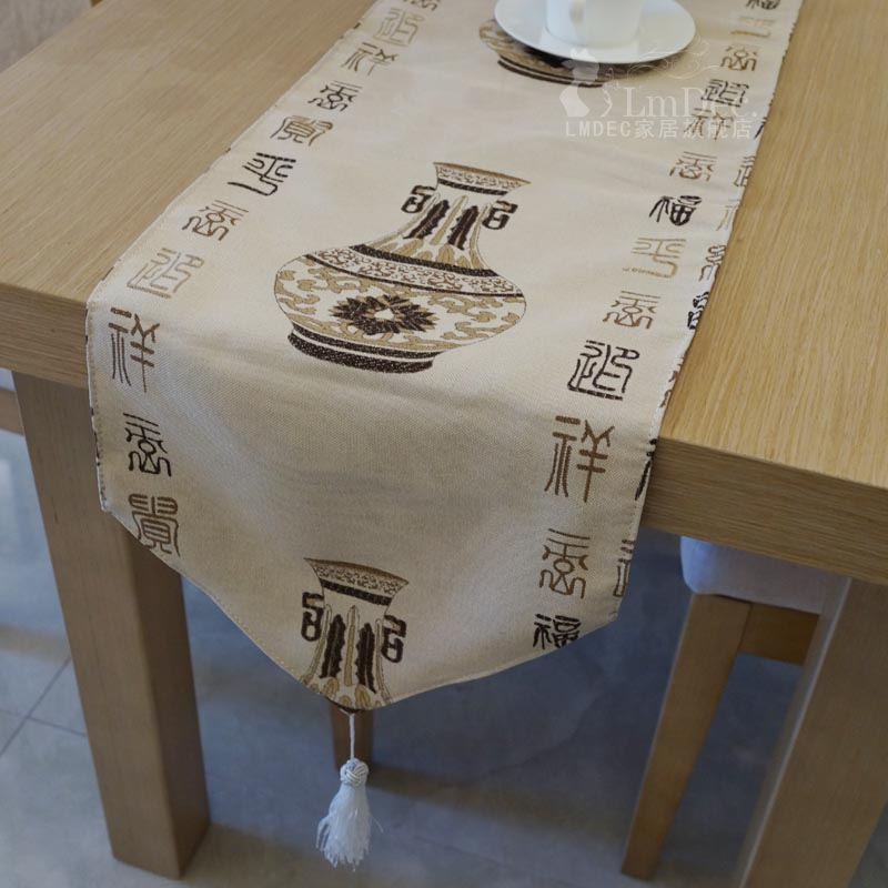 Classical pattern table runner coffee table decoration vase lmdec modern chinese fashion fabric table cloth