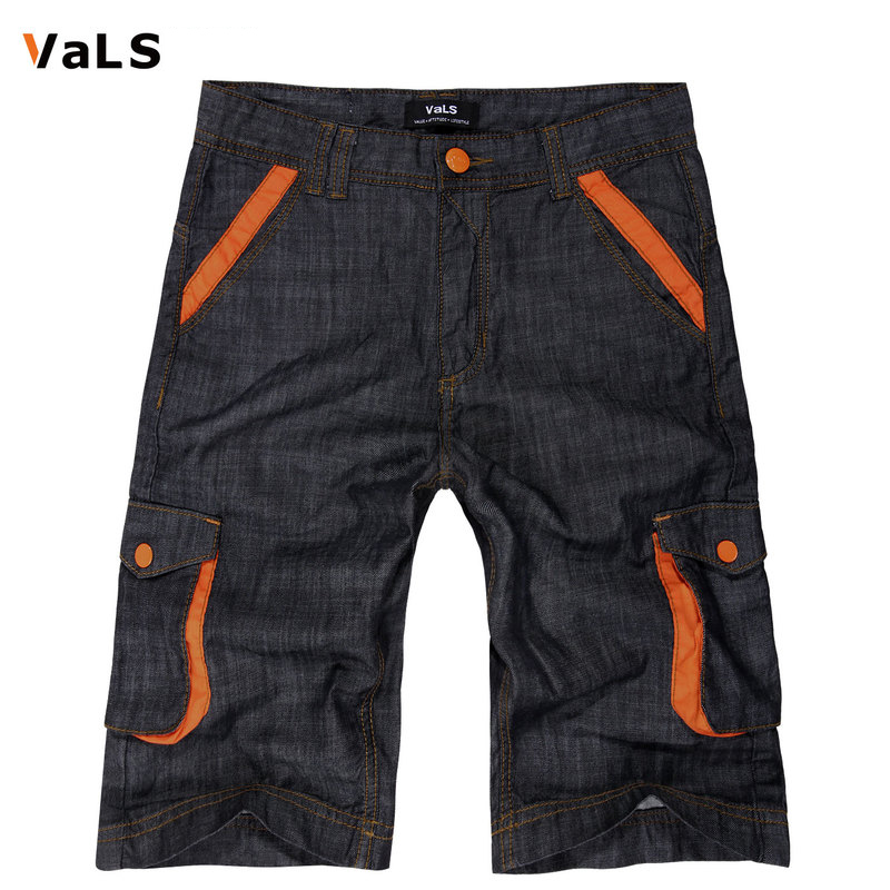 [Clearance] hit the color thin section overalls pocket more casual pants fifth straight men's denim shorts denim pants tide