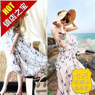 Clearance sales! sanya tour new small chili April 11 floral chiffon dress sling (free shipping)