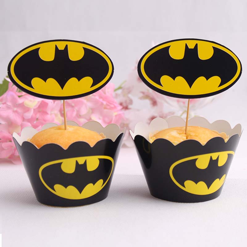 Cocoa daiyi baking cupcakes inserted card suits around the edges 20 pieces of decorative pieces inserted card batman series