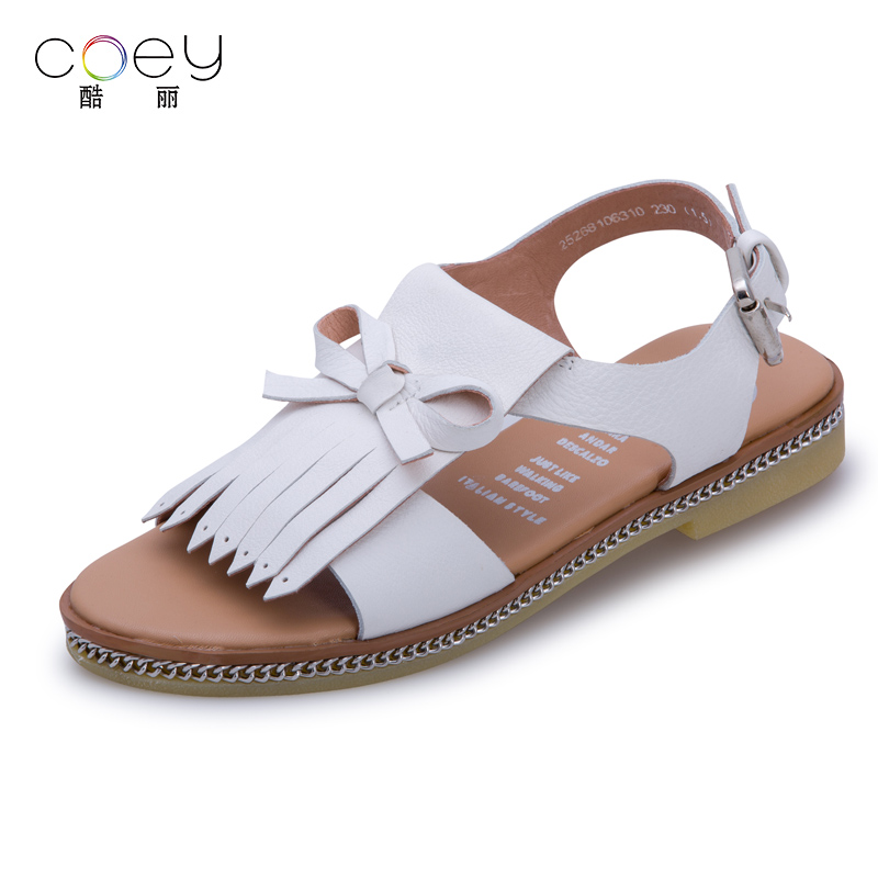 Coey cool 2016 summer new british style fringed leather flat sandals female summer sandals roman sandals 81063