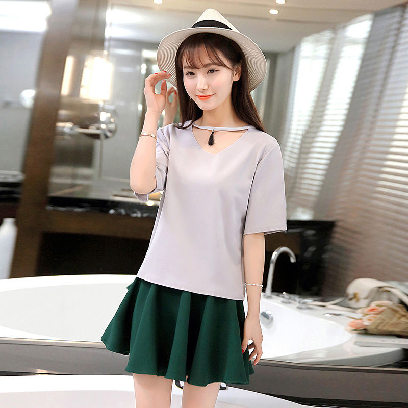 College wind girl student summer fashion temperament simple and sweet short sleeve loose dress was thin piece skirt
