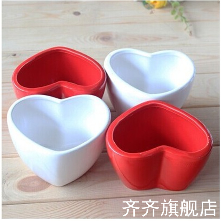 Color love heart heart red white ceramic pots ceramic pots indoor desktop potted succulents
