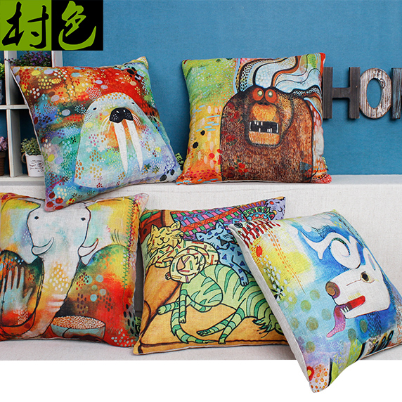 Color painted cartoon cat creative cartoon elephant pillow pillow cute animal cotton pillow cushion sofa cushions