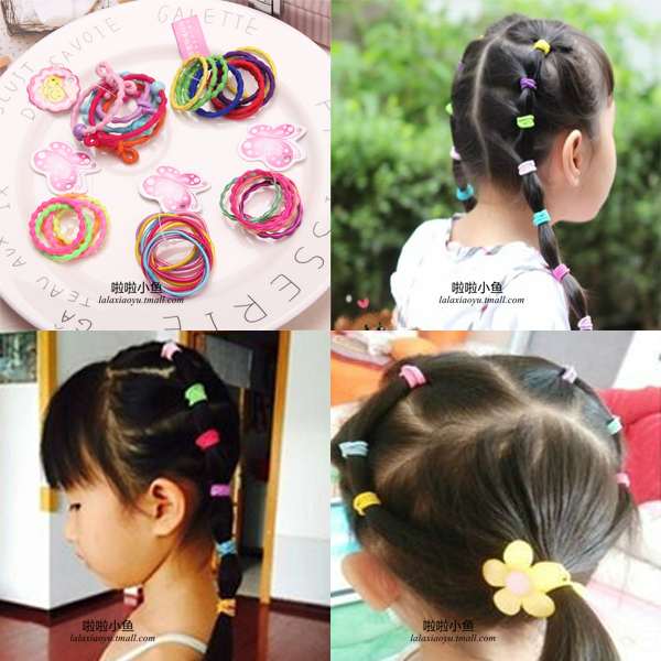 Color peas oujie hair ring seamless hair ring hair rope children hair accessories baby slubby chuck flower hair accessories diy jewelry accessories