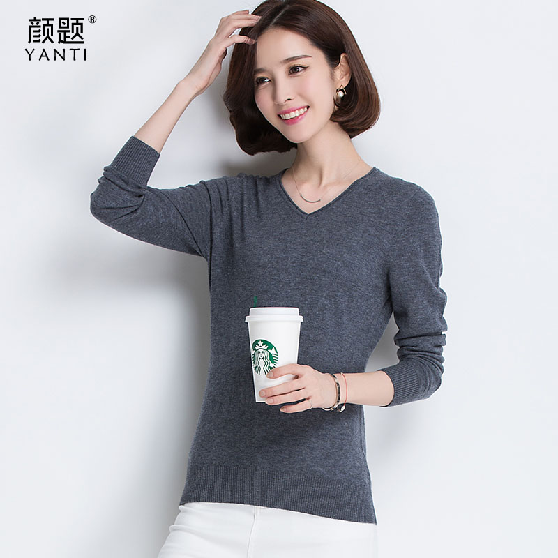Color problem 100% pure wool sweater female hedging sweater autumn and winter new korean version of v-neck long sleeve bottoming shirt outside the ride Influx of men
