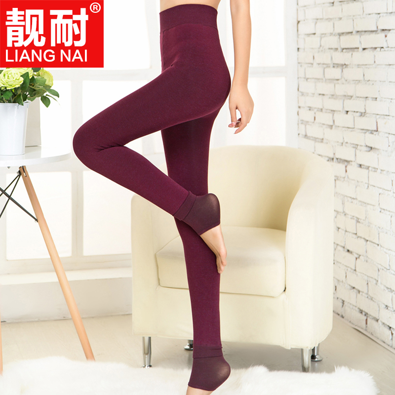 Colorful cotton winter plus thick velvet leggings pants one outer wear high waist trousers step foot tidal ms. warm trousers