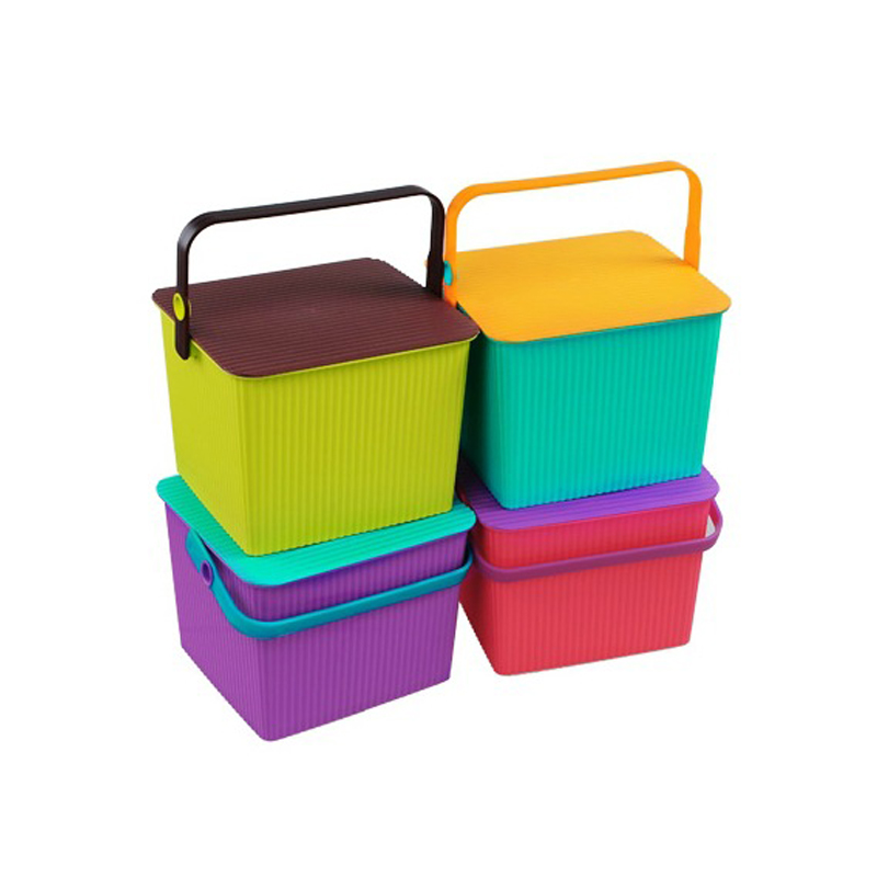 Colorful fishing bucket stool thick plastic storage box sorting box covered storage box large square wave pattern bucket