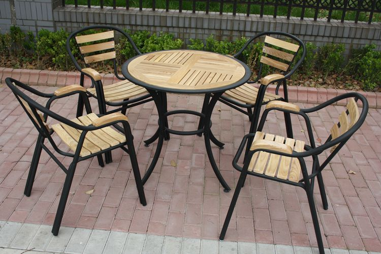 Combination of solid wood tables and chairs for outdoor wrought iron outdoor leisure furniture patio terrace cafe tables and chairs wujiantao