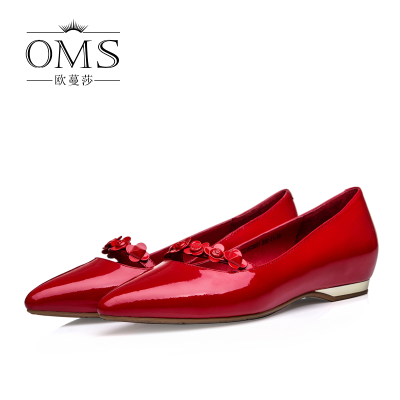 Comfortable flat shoes patent leather pointed shoes women wedding shoes red leather flat shoes with flat shoes spring and summer