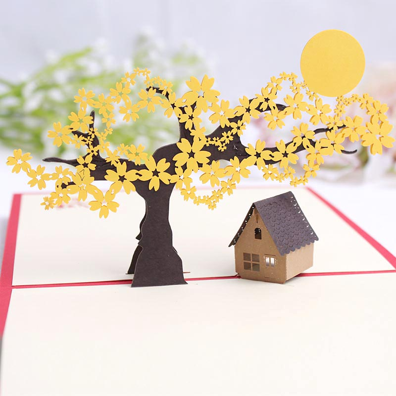 Commodities ni 3d stereoscopic cherry tree strange new creative new year greeting card christmas new year's day gift blessing paper art cards