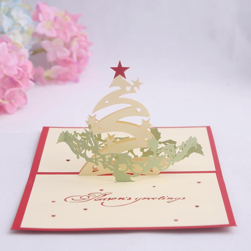 Commodities ni 3d stereoscopic handmade paper greeting card business greeting card christmas new year greeting card christmas tree