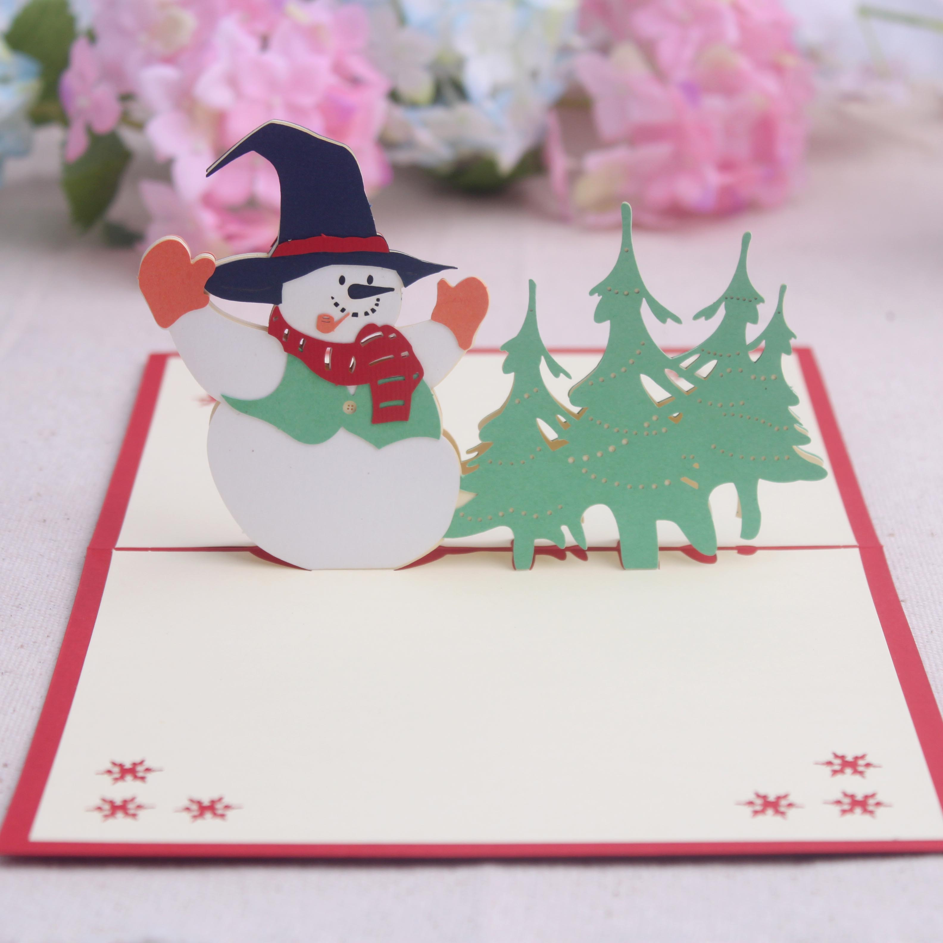 Get Quotations Commodities Ni Korea Handmade Christmas Tree Snowman 3d Paper Sculpture Creative Custom Cards New Year
