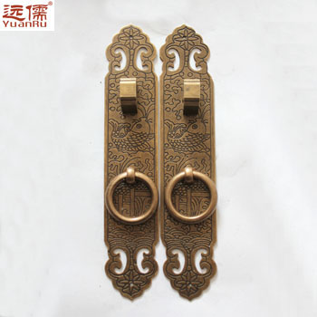 Confucianism bronze copper door handle locks YRG005 biforate chinese antique straight long 16 cm