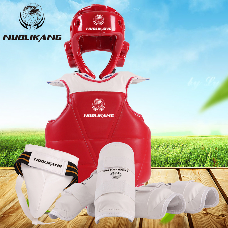 Connaught kang type game full set of adult children taekwondo taekwondo protective gear protective gear taekwondo taekwondo protective gear protective gear wujiantao send protective gear bag 5