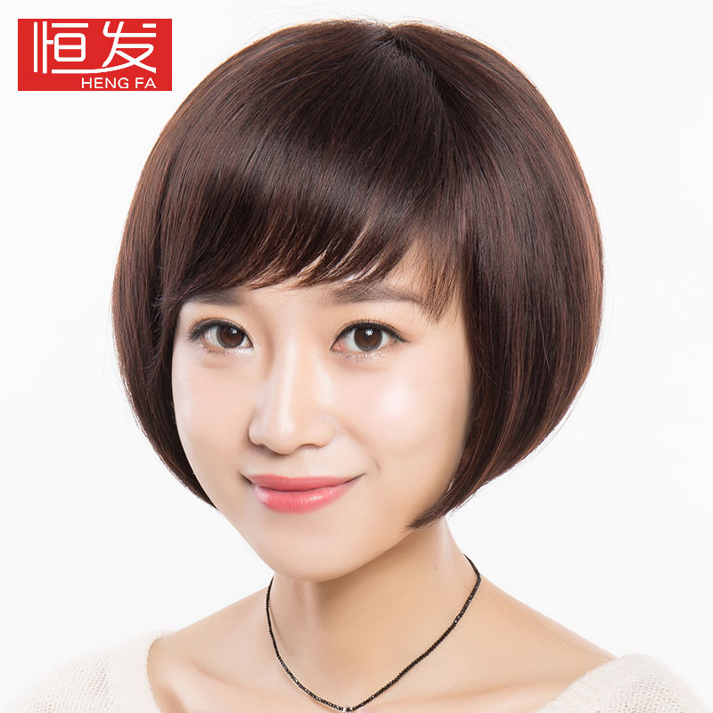 Constant hair wig high fashion full hand woven hair real hair wig oblique liu hai bobo head real hair female 5026