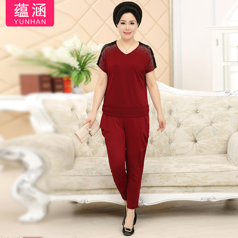 Contained in the elderly mother dress suit women's summer fashion round neck t-shirt suit the elderly summer fashion set