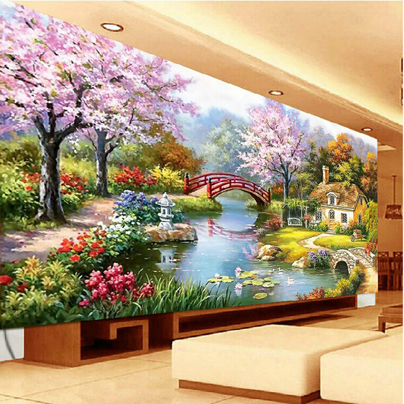 Continental garden cottage painting full diamond diamond diamond stitch stitch new living room landscape 5d square diamond diamond diamond embroidery dream home