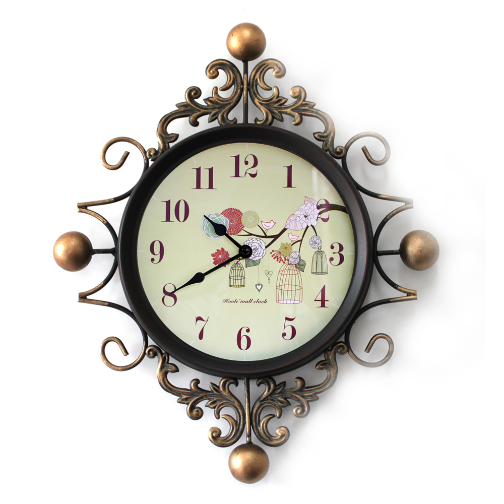 Continental iron siton birds personality mute wall clock art clock creative fashion watches living room wall clock quartz clock