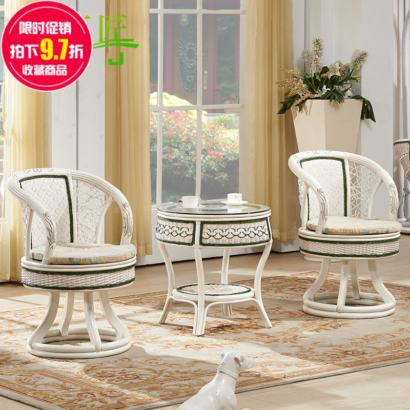 Continental ivory white creative rattan chair rattan chair balcony wicker chair wicker chair three sets of 3 sets of combination coffee table and chairs rattan furniture